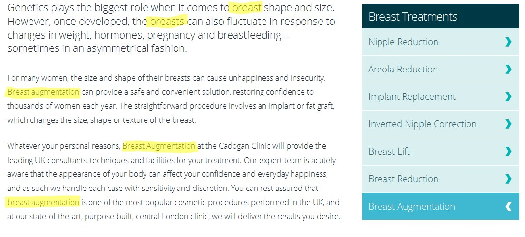 content on cadogan clinic webpage