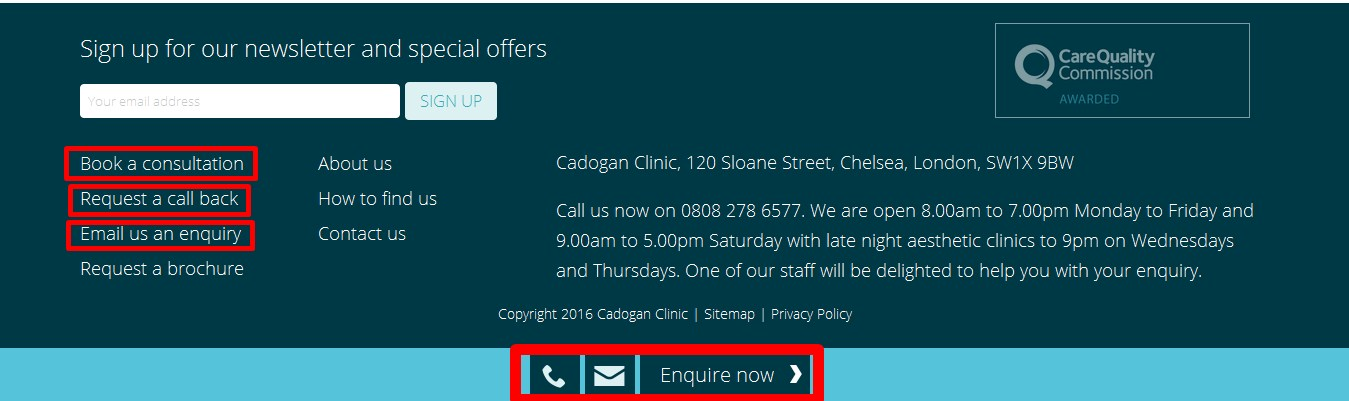 cadogan clinic footer