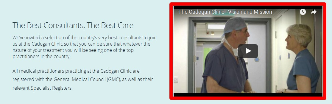 cadogan clinic homepage video